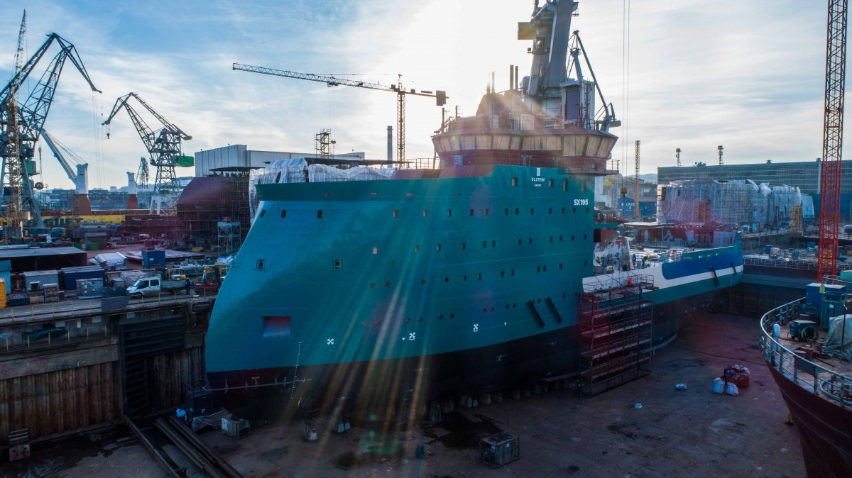 The CRIST shipyard has completed the construction of a partially equipped vessel for servicing offshore wind farms (photo, video)