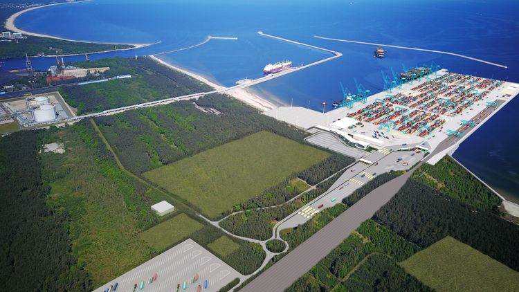 Świnoujście. Container terminal in a heart of universal hub