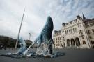 Wieloryby przed węgierskim parlamentem w ramach akcji Greenpeace