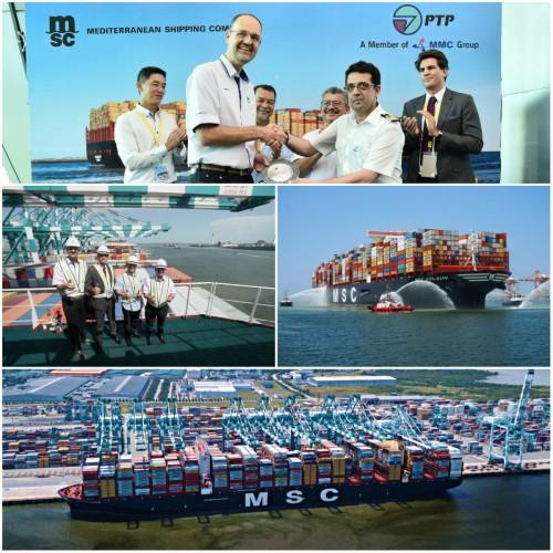 Największy kontenerowiec na świecie zawinął do malezyjskiego portu (wideo) - GospodarkaMorska.pl