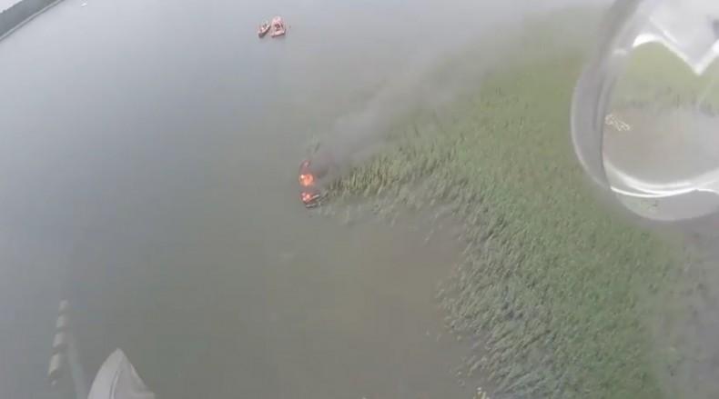 Na Jeziorze Mamry spłonęła motorówka (wideo) - GospodarkaMorska.pl