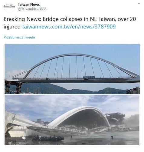 Zawalił się most nad zatoką na wschodzie Tajwanu. 10 osób rannych, są zaginieni (wideo) - GospodarkaMorska.pl