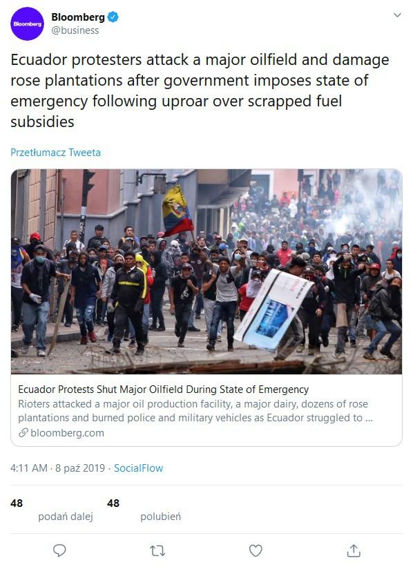 W Ekwadorze przez protesty wstrzymano prace na trzech polach naftowych - GospodarkaMorska.pl