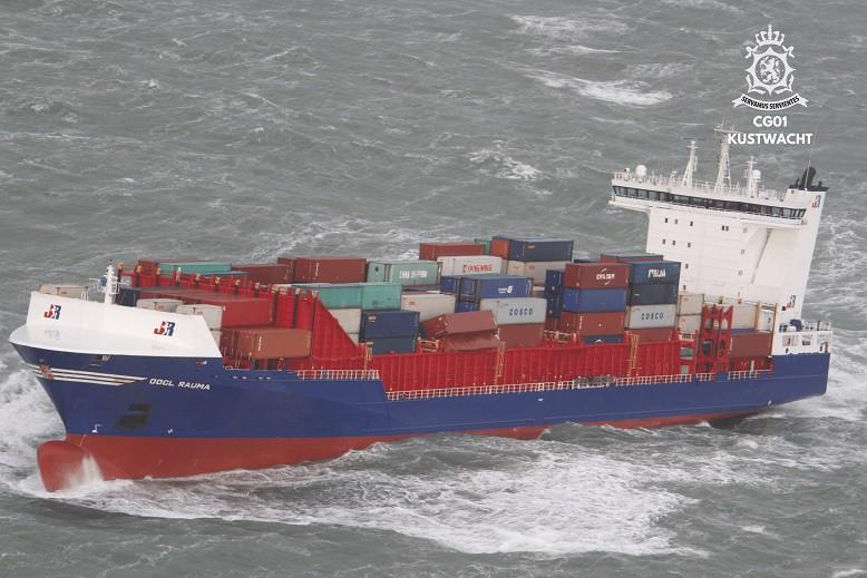 Kilka kontenerów spadło z OOCL Rauma u wybrzeży Holandii - GospodarkaMorska.pl