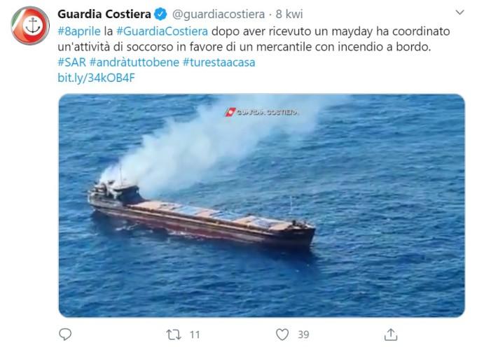 12 marynarzy uratowanych z płonącego statku (wideo) - GospodarkaMorska.pl