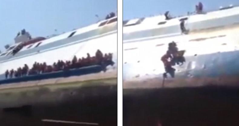 Ucieczka z tonącego statku w Indonezji (wideo) - GospodarkaMorska.pl