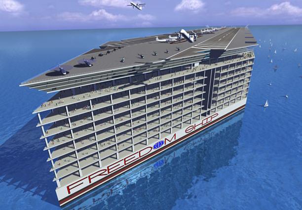 Freedom Ship – budowa największego statku w historii znów opóźniona (foto, wideo) - GospodarkaMorska.pl