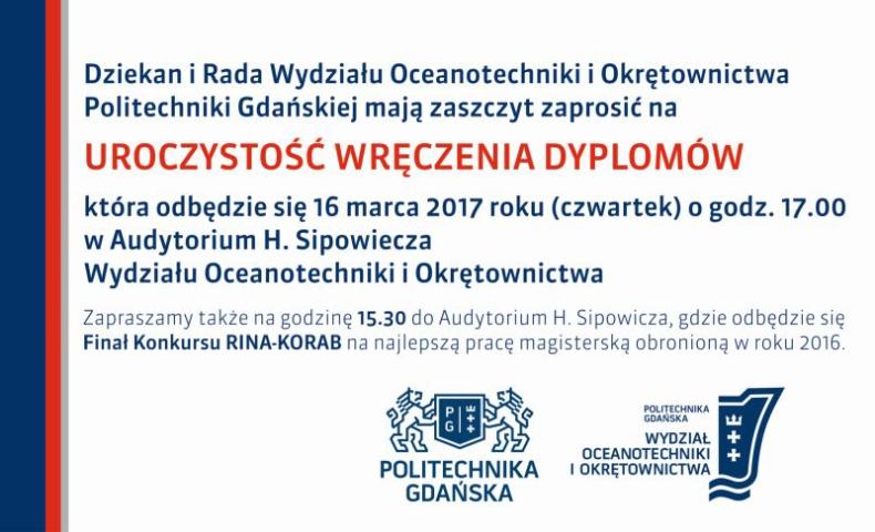 Finał konkursu RINA-KORAB 2017 oraz uroczystość wręczenia dyplomów na Politechnice Gdańskiej - GospodarkaMorska.pl