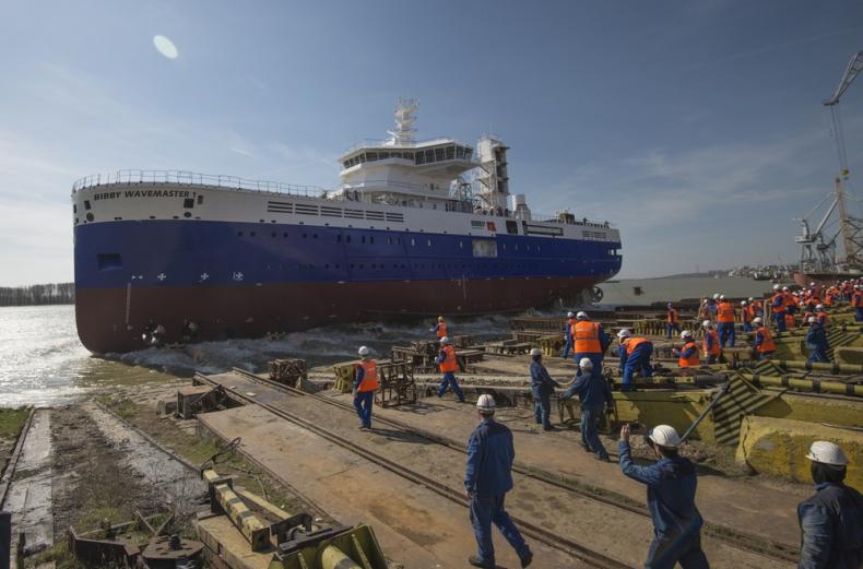 W Damen Shipyards Galati zwodowano specjalistyczną jednostkę SOV (wideo) - GospodarkaMorska.pl