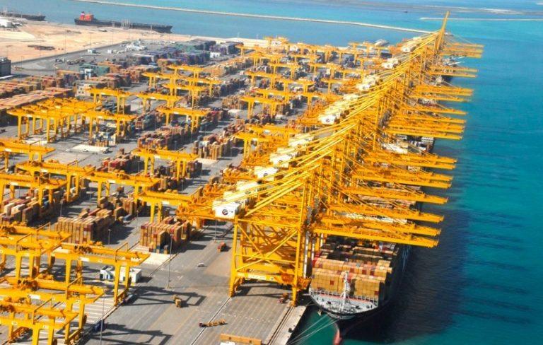 Ogromny dźwig przewrócił się po uderzeniu statku w porcie Jebel Ali (wideo) - GospodarkaMorska.pl