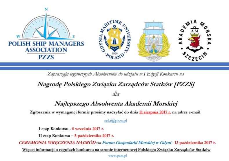 Konkurs o Nagrodę PZZS dla Najlepszego Absolwenta Akademii Morskiej - GospodarkaMorska.pl