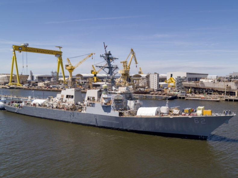 USS Fitzgerald ponownie zwodowany w stoczni Ingalls Shipyard - GospodarkaMorska.pl