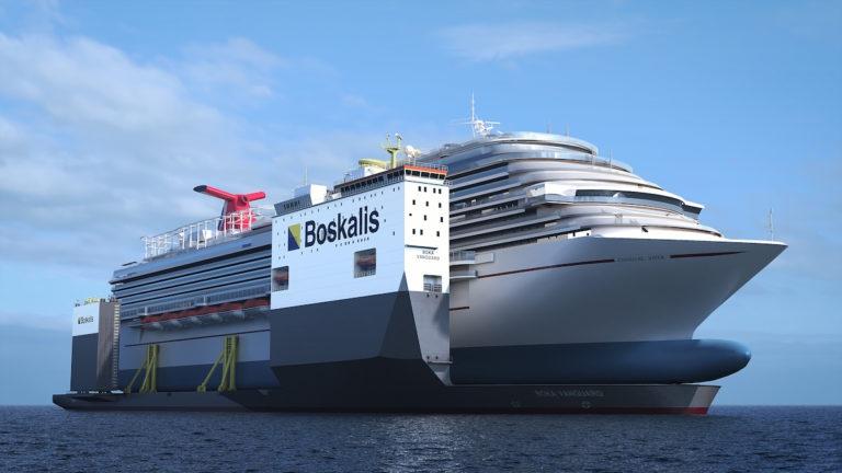Rekordowy ciężarowiec Boskalisu będzie służył jako suchy dok dla wycieczkowca Carnivala (wideo) - GospodarkaMorska.pl