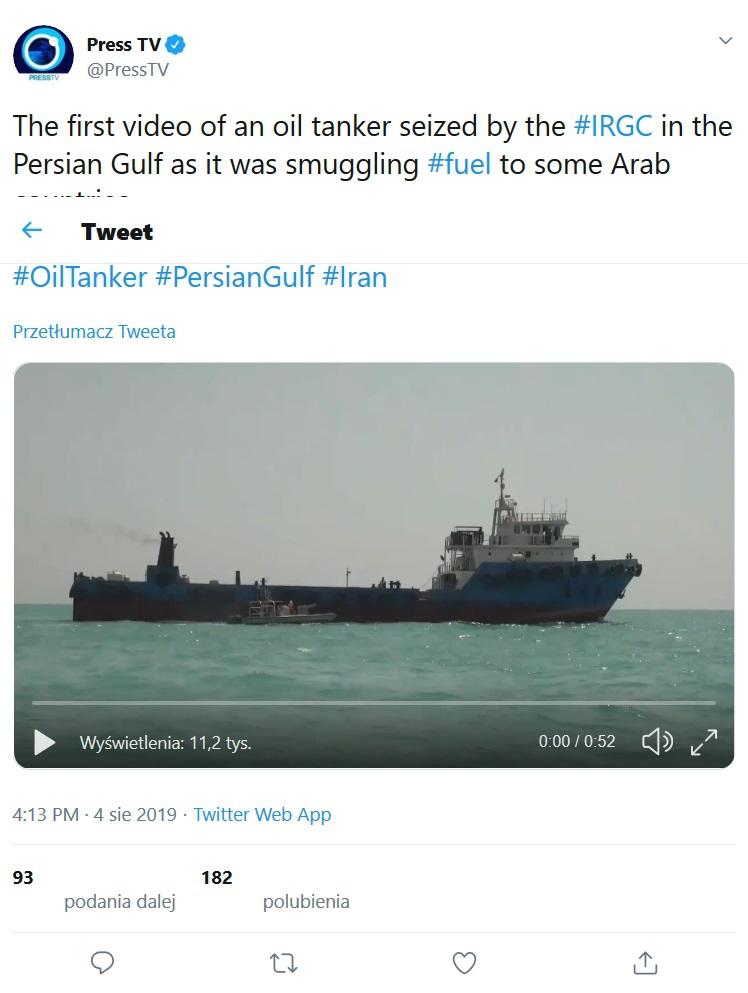Irańska agencja prasowa IRNA: Przejęty przez Strażników Rewolucji tankowiec jest iracki (wideo) - GospodarkaMorska.pl