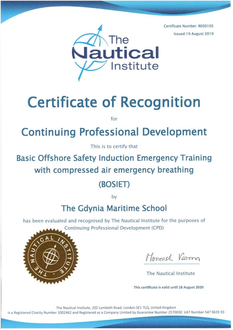 """Szkoła Morska w Gdyni uzyskała """"certificate of recognition"""" BOSIET - GospodarkaMorska.pl"""