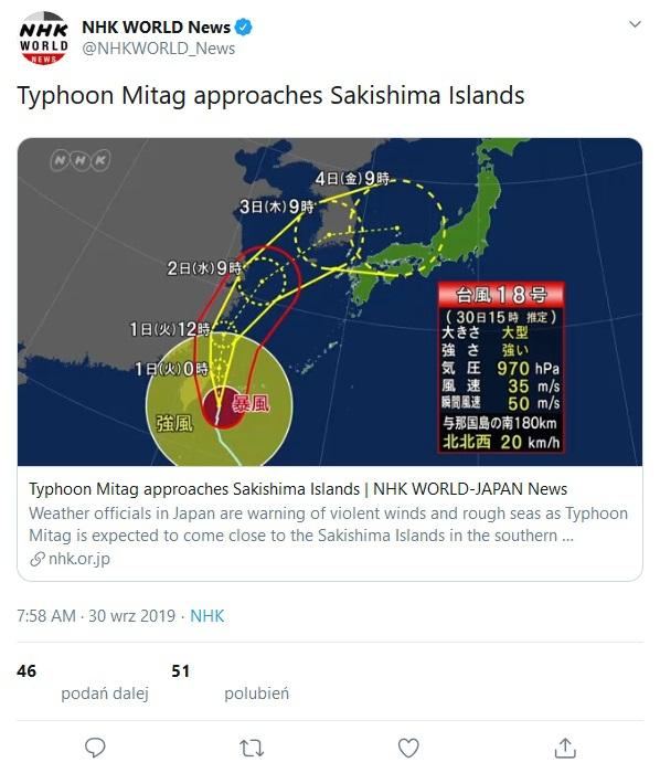 Tajwan: Zbliża się tajfun Mitag, zamknięto szkoły i biura - GospodarkaMorska.pl
