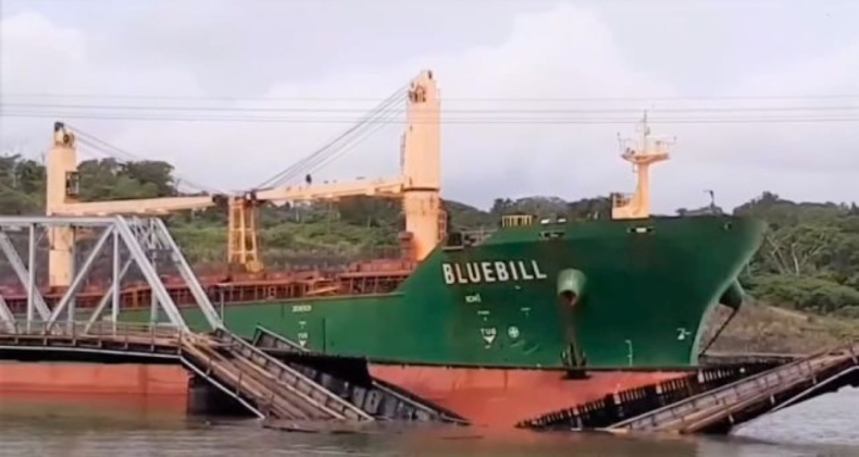 Masowiec zniszczył most kolejowy na Kanale Panamskim (wideo) - GospodarkaMorska.pl