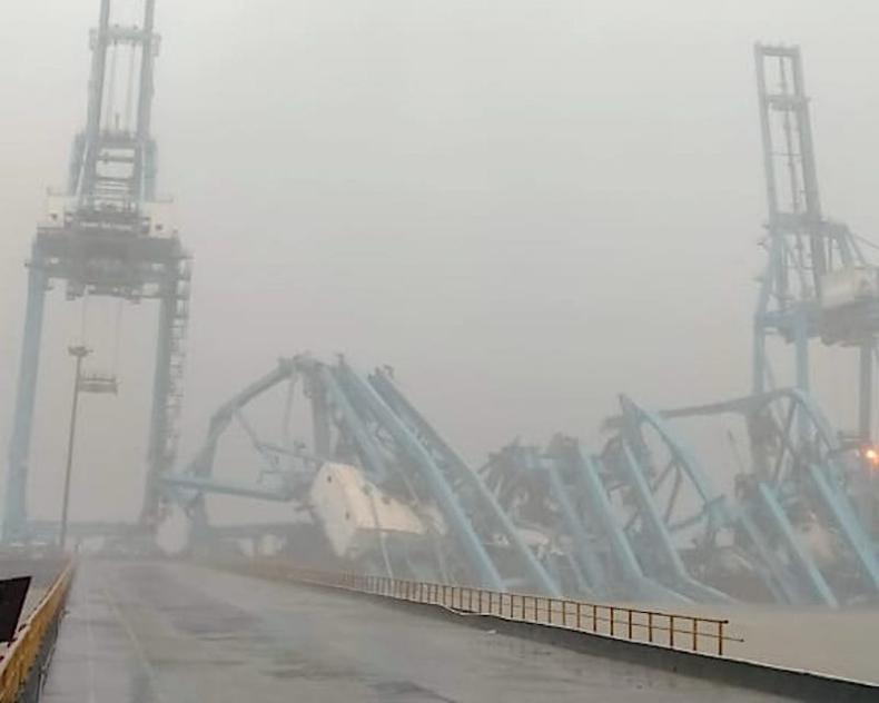 Silny wiatr powywracał suwnice w głównym hinduskim porcie - GospodarkaMorska.pl