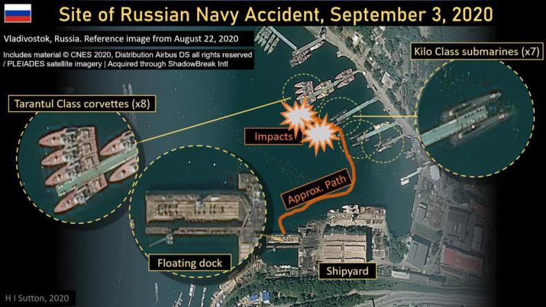 Pływający dok uderzył w okręty w rosyjskiej bazie marynarki wojennej [wideo] - GospodarkaMorska.pl