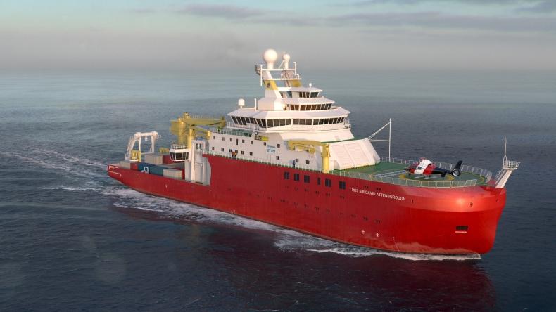 Brytyjski polarny statek badawczy rozpoczął próby morskie - GospodarkaMorska.pl