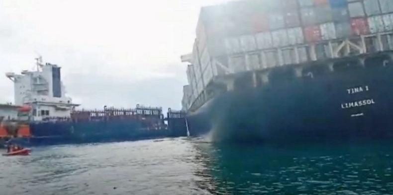 Dwa kontenerowce zderzyły się u wybrzeży Indonezji (wideo) - GospodarkaMorska.pl