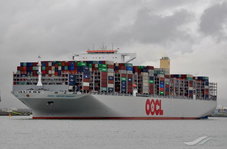 OOCL UNITED KONGDOM opuścił obszar Kanału Sueskiego, zmierza w kierunku RPA - GospodarkaMorska.pl